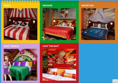 レゴランドジャパンレゴホテル客室海賊、王国、冒険、ニンジャゴー、レゴフレンズ