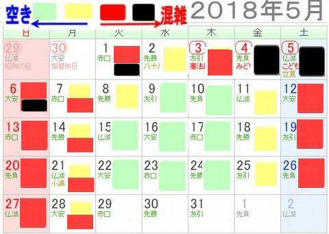レゴランドジャパン名古屋2018年5月混雑カレンダー3