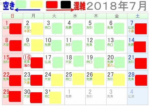 シーライフ名古屋2018年7月混雑カレンダー