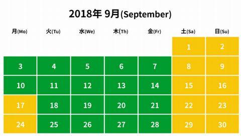2018年9月レゴランド入園料金カレンダーピーク期