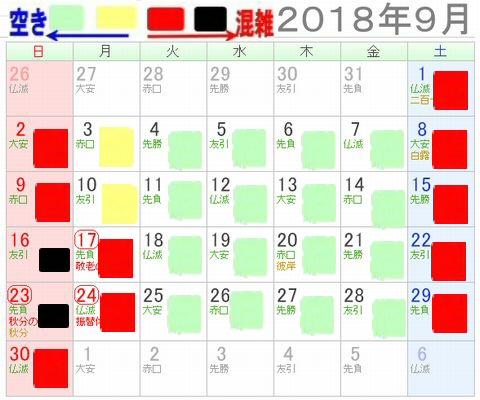 ナガスパプール2018年9月混雑予想カレンダー