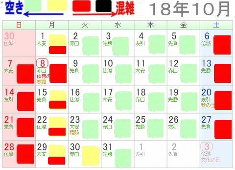 レゴランドジャパン名古屋2018年10月混雑カレンダー