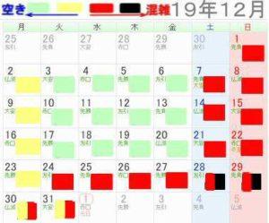 レゴランド名古屋2019年12月混雑予想カレンダー
