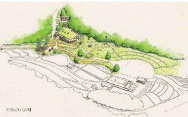 ジブリパーク完成予想図 もののけの里エリアタタラ場