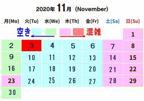 020年10月レゴランド混雑予想カレンダー、混雑状況土日平日